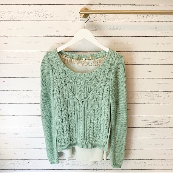Anthropologie Sweaters - Anthropologie Moth Mint Cabled Ella Pullover